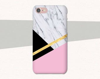 Geometric Marble Phone Case, iPhone 6 Case, iPhone 6S Plus Marble iPhone Case, Pink Marble iPhone SE Case, Pink Phone Case, Pink Marble