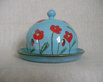 Butter dish Handmade butter or cheese dome. Butter pot. Cheese dome. Poppy butter dome. Poppy cheese dome.
