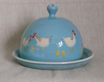 Butter dish Handmade butter dome  Cheese dome. Chicken and chick butter dome.Chicken butter dish