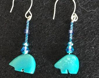 Turquoise Bear Earrings