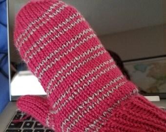 Pink Striped Mittens