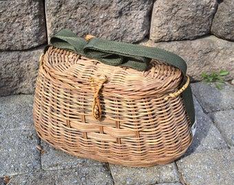 Vintage Fishing Basket   Wicker Fishing Creel   Woven Fishing Basket   Vintage Picnic Basket   Wicker Storage Basket   Fly Fishing Container
