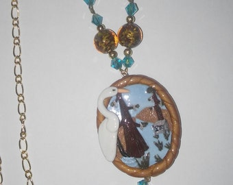 Crane Pendant Necklace with Earings