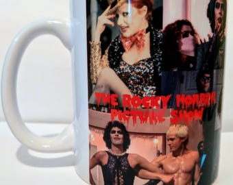 Rocky Horror Picture Show cup Coffee Mug, dammit Janet, lips, Sweet Transvestite from Transylvania.  Gift, culture, culture.