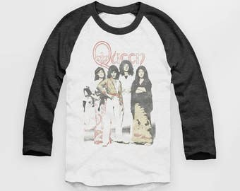 Queen Band Photo - Vintage Look Baseball Jersey - Raglan Top - T Shirt  - S M L XL