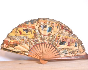 OLD retro vintage Spain bullfighting bullfight Bull torreador torrero range wood old Vintage fan from spain