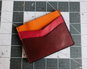 Five color Saffiano leather card wallet