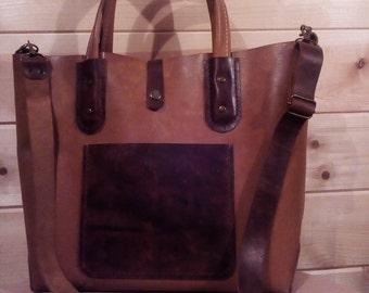 Handmade leather shopping bag