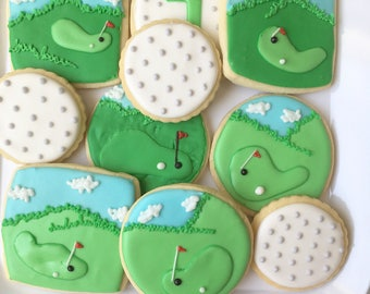 Golf Sugar Cookies, Sports Cookies, One Dozen, Golf Cookies, Golf Treats, Gift for Him, Father's Day Gift, Gift for Dad, Father's Day