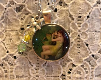 Fairy Mother with Child Charm Necklace/Fairy Necklace/Fairy Jewelry/Fairy Pendant/I Love Fairies