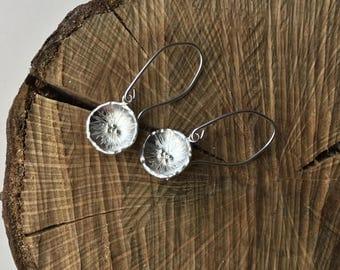 Sterling silver poppy earrings, flower earrings, droppers earrings, blossom earrings