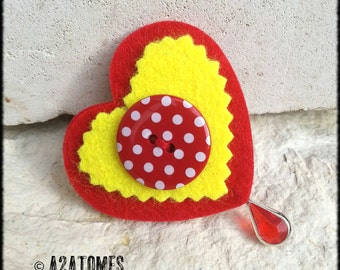 Women red and yellow felt heart brooch