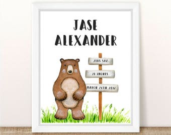 PRINTABLE Bear Nursery Art Print, Birth Statistics Bear Art Print, Bear Nursery, Woodland Boy Nursery Printable, Boy Bear, Watercolor Bear