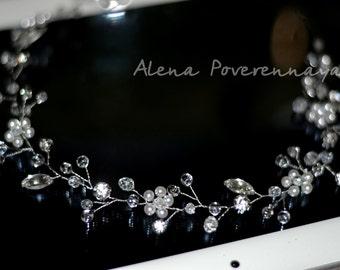 Long hair vine, Bridal hair vine, Crystal hair vine, Crown, Wedding hair accesseries, Hair jewelry, Bridel jewelry, Bridal hair accessory