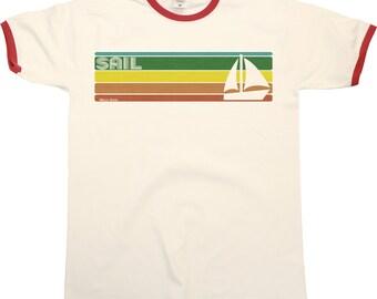 Retro SAILING Strip Mens RINGER T-Shirt Retro Style Cool Fashion New