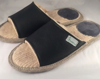 Women slippers, black slippers, leather slippers, wool slippers, slippers for women, open toe slippers, female slippers, women house shoes