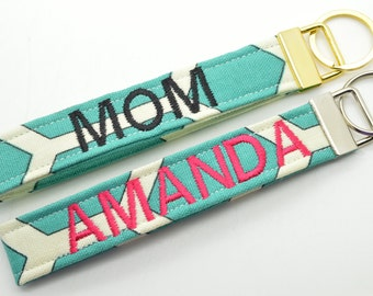 Personalized Keychain with Name Monogram Embroidered Key Chain Fob Wristlet Teal and White Print