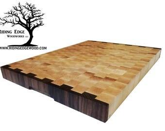 "End Grain Butcher Block Cutting Board  ""Many Sizes"" Maple, Walnut"