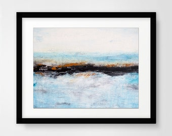 Abstract landscape print digital download blue printable wall decor art print abstract painting home decor design contemporary artwork