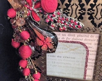 Vintage Jeweled Photo Frame/Bronze Picture Frame in reds and golds