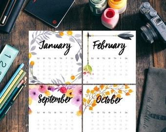 2017 Floral Calendar, Printable Watercolor Calendar, Small CD-Size Calendar, 4.75 inch Squares, Mini Square Calendar, Instant Download
