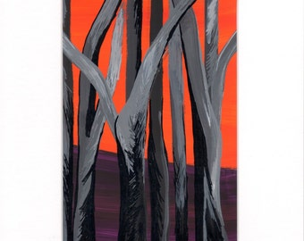 Bushfire Burnt Trees Orange Purple Black Colours Abstract Painting Ready to Ship