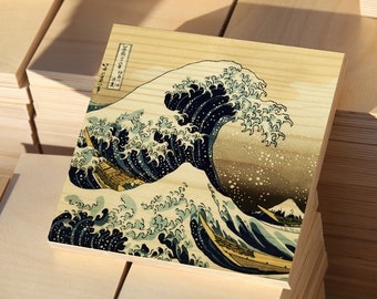 Valentine's gift Perfect Christmas giftThe Great wave at Kanagawa  printed on pine wood 30x30