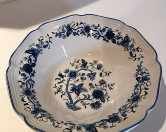 Vintage F.W. Woolworth Serving Bowl Blue & White