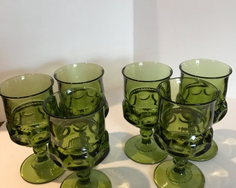 Vintage Green Indiana Glass Goblets - Set of 6