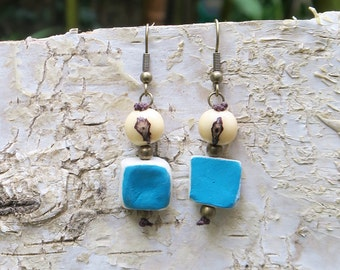 Seeds and squares earrings