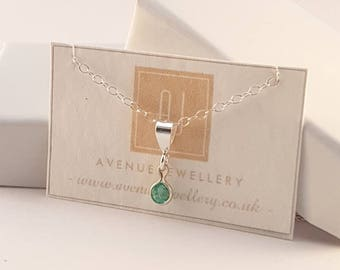 Real Emerald Pendant 0.14ct in 925 Sterling Silver