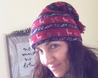 SALE! Peruvian chic red wool cap with llamas