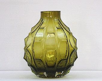 Olive green 'grenade' vase - mid-century vintage - 1970s