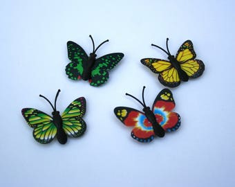 Butterfly magnets - set of 4 fairy garden or terrarium decor