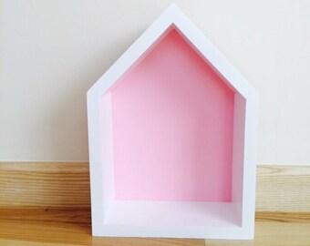 House Shaped Shelf, Wooden House Pink