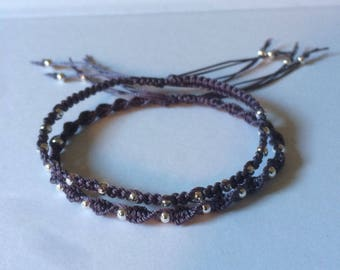 Purple macrame bracelets with silver beads, pair of delicate friendship bracelets, adjustable
