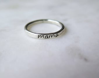 Mama Ring, Sterling Silver Ring, Personalized Jewelry, Minimalist Ring, Mother's Day Gift
