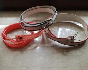 Set of 3 vintage plastic belts
