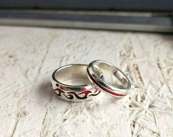Fire wedding ring, Passion enamel ring, Flame of love, Moto silver, Bikers jewelry, motocross, Motorcycle silver, Solid Sterling silver
