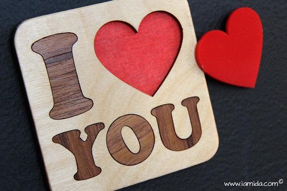 Ich liebe dich Mama Papa interaktive Herz Puzzle Untersetzer