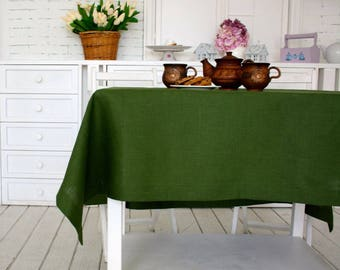 Natural Linen Tablecloth,Green Linen Table Cloth,Handmade Minimalistic Homeware,Mitered Corners, Modern Design Large Tablecloth,Table Linens