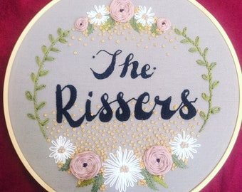 Personalized Family Name Embroidery Hoop