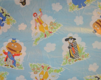 Vintage McDonalds Twin Fitted Bed Sheet  - Reclamed Bed Linen