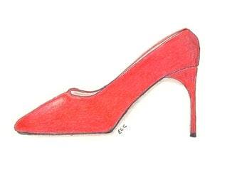 note cards:  red stiletto