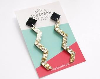 Zig Zag Earrings in Black and Gold Glitter