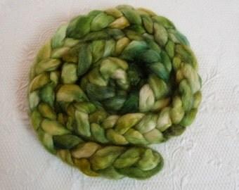 Wensleydale 300 g hand Bergwald dyed green, light green, gold