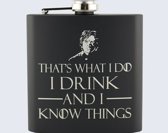 Tyrion Lannister Game Of Thrones Inspired Design, Laser Engraved, Black 6oz Stainless Steel Hip Flask