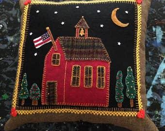 "Primitive Felt Applique Brown Linen pillow ""Night School"""