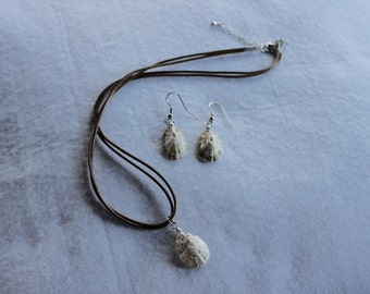 Beach seashell necklace and earring set