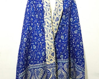 Real wool scarf/himalayan made BLUE COLOUR paisley print/floral print ethnic  DOUBLE sided scarf /shawl/wrap/blanket,High quality 100%wool